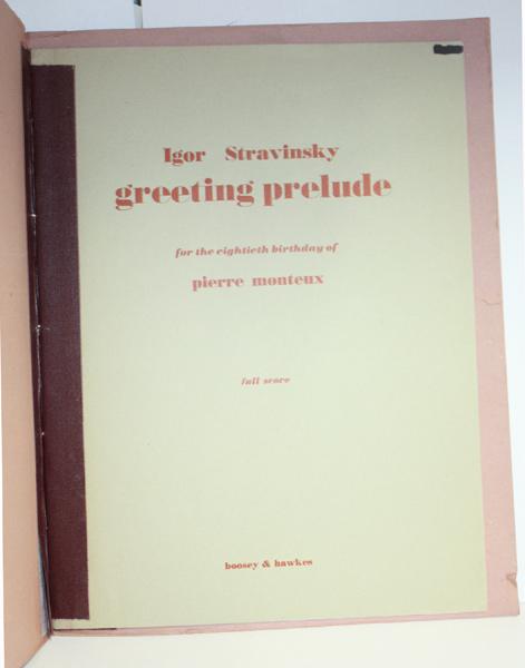 Stravinskys greeting prelude best rates us orchestra stravinsky igor greeting prelude for the eightieth birthday of pierre monteaux 1955 m4hsunfo